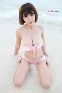 [MyGirl] Vol.308 天然桃乳娘晓茜sunny粉色火辣比基尼海滩秀丽美艳写真 44P